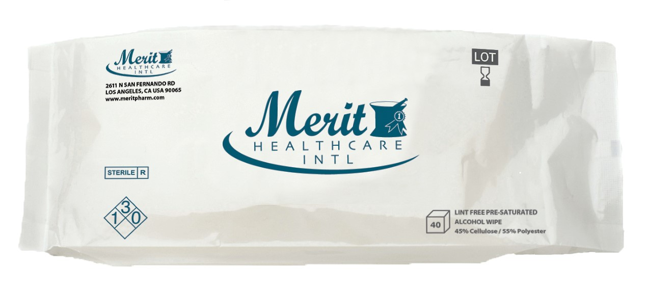 """Alcohol Wipes, Pre-Saturated, Sterile, Disposable, 9""""x9"""", 40/Bag"""