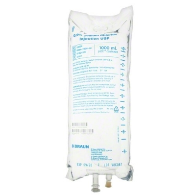 0.9% Sodium Chloride Injection USP, 1000mL * EACH * PLEASE CALL FOR AVAILABILITY  This product is on manufacturer allocation. We will do our best to supply you with this product.