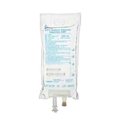 0.9% Sodium Chloride Injection USP, 250mL Each #L8002