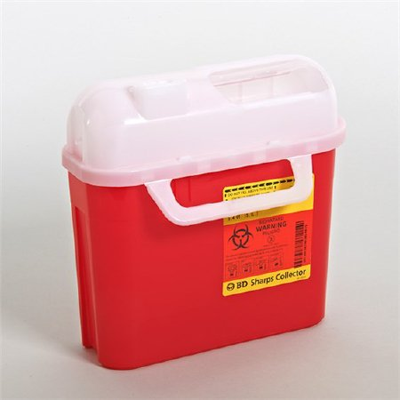 Sharps Container 5.4 Quart Red Horizontal Entry Lid