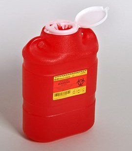 Sharps Container 5 Gallon Red Vertical Entry Lid # 305491