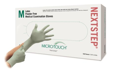 Ansell Micro-Touch Nextstep Powder Free Latex Gloves With Aloe, Non-Sterile, Box of 100, LARGE # 3203